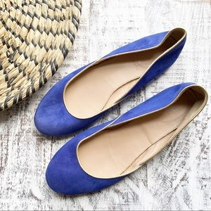 J. Crew suede blue and gold trim Kelcey flats 8.5